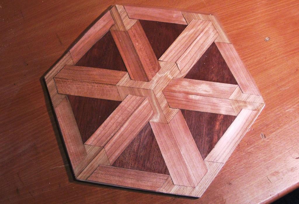Wooden inlay-work, by Simon, Raumfahrtagentur.